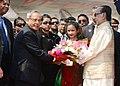 The President, Shri Pranab Mukherjee being welcomed by the President of Bangladesh, Mr. Md. Zillur Rahman on his Ceremonial arrival, at Hazarat Shahjalal International Airport, Dhaka Bangladesh on March 03, 2013.jpg