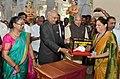 The President, Shri Ram Nath Kovind visiting the Sri Ramanathaswamy Temple, at Rameswaram, in Tamil Nadu on December 23, 2017. The Governor of Tamil Nadu, Shri Banwarilal Purohit is also seen (1).jpg