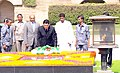 The President of Turkmenistan, Mr. Gurbanguly Berdimuhamedov laying wreath, at the Samadhi of Mahatma Gandhi, at Rajghat, in Delhi on May 25, 2010.jpg