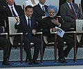 The Prime Minister, Dr. Manmohan Singh with the President of France, Mr. Nicolas Sarkozy, at the Bastille Day Parade of France, in Paris on July 14, 2009 (2).jpg