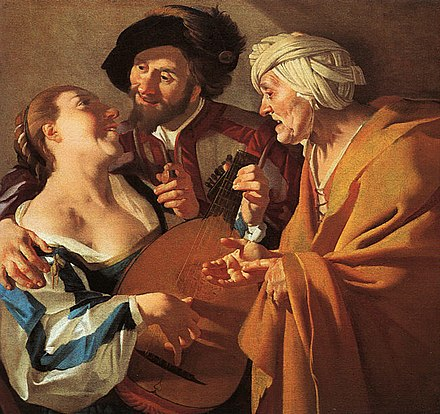 Dirck van Baburen, The Procuress , 1622, oil on canvas, Museum of Fine Arts, Boston. The painting was owned by Maria Thins, mother-in-law of Johannes Vermeer, who reproduced it within two of his own paintings. The Procuress.jpg