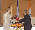 The Union Defence Minister Shri Pranab Mukherjee, the Defence Minister, France, Mme Michele Alliot-Marie are exchanging documents after signing agreements, in New Delhi on 20th February, 2006.jpg