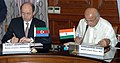 The Union Home Minister, Shri Sushil Kumar Shinde and the Minister of Justice of Azerbaijan, Shri Fikrat Mammadov signing the Mutual Legal Assistance Treaty (MLAT) in Criminal Matters, in New Delhi on April 04, 2013.jpg