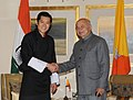 The Union Home Minister, Shri Sushil Kumar Shinde meeting the King of Bhutan, His Majesty Jigme Khesar Namgyel Wangchuck, in New Delhi on January 25, 2013.jpg