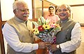 The Union Minister for Mines and Steel, Shri Narendra Singh Tomar meeting the Chief Minister of Haryana, Shri Manohar Lal Khattar, in Chandigarh on July 22, 2015.jpg