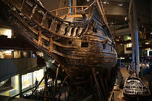 Maritime archaeology - The bow of Vasa, a Swedish warship that foundered and sank on its maiden voyage in 1628. It was salvaged in 1961 and is now on permanent display at the Vasa Museum in Stockholm.
