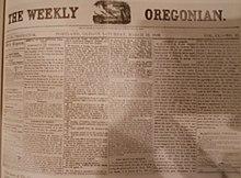 Первая страница Weekly Oregonian от 19 марта 1859 г.