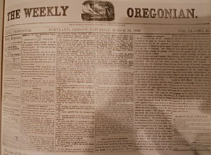 The Oregonian - The Weekly Oregonian front page on March 19, 1859