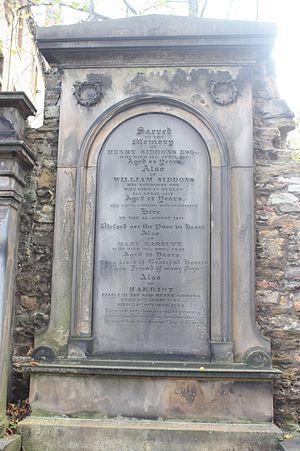 Henry Siddons - The grave of Henry Siddons, Greyfriars Kirkyard
