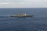 The guided missile cruiser USS Leyte Gulf (CG 55) transits the Atlantic Ocean March 19, 2014, in support of exercise Joint Warrior 14-1 140319-N-WX580-174.jpg