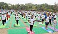 The participants in the mass performance of Common Yoga Protocol, on the occasion of the 4th International Day of Yoga -2018, at Talkatora Garden, in New Delhi on June 21, 2018 (3).JPG