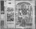The religious life of King Henry VI - Talbot, Earl of Shrewsbury, presenting a book to Margaret of Anjou and Henry VI.png