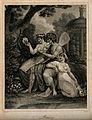 Three fairies in a garden looking at the plants; representin Wellcome V0007505.jpg