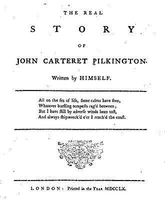 John Carteret Pilkington - Title page of 1760 Memoirs