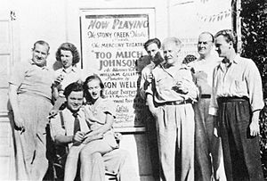 Howard Smith (actor) - Howard Smith, Mary Wickes, Orson Welles, Virginia Nicolson, William Herz, Erskine Sanford, Eustace Wyatt and Joseph Cotten outside the Stony Creek Theatre during the two-week run of the Mercury Theatre stage production of Too Much Johnson (August 16–29, 1938)