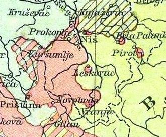 Expulsion of the Albanians 1877–1878 - Image: Toplica Morava Andreemap