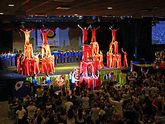 Human tower (gymnastic formation) - Four layers' human tower and 4 units of three layers' ones. The performance of the Brazil SGI Young Men's Division team of Rio de Janeiro at Ribalta Theater, on October 30, 2011