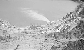 Shalalth - Bridge River townsite at South Shalalth during Powerhouse No. 1 construction, c. 1947