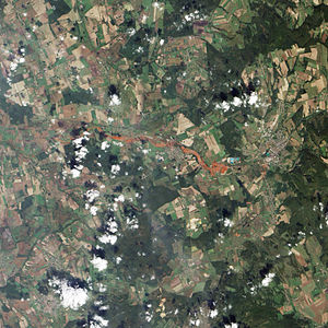 Ajka alumina plant accident - Natural-colour satellite image of the area surrounding the spill.