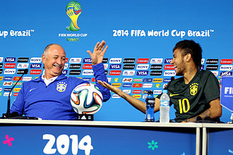 Luiz Felipe Scolari - Luiz Felipe Scolari with Brazilian forward Neymar at a press conference at the 2014 FIFA World Cup