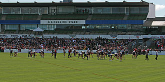 Moorabbin Oval - St Kilda training in front of the G. G. Huggins Stand (which is on schedule to be demolished in 2017) before the 2009 AFL Grand Final