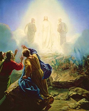 Moses appearing at the Transfiguration of Jesus, by Carl Bloch Transfigurationbloch.jpg