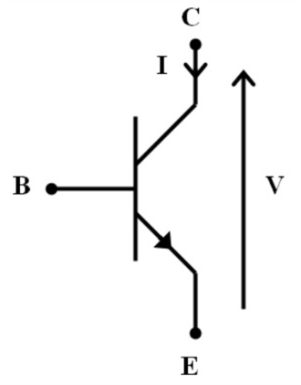 Synaptic gating - An example of a Bipolar junction transistor which can be used as a model for synaptic gating. B would represent the gatekeeper neuron that regulates the transmission of the signal from C to E.