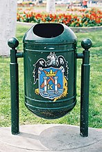 Trash bin on Plaza de Armas.
