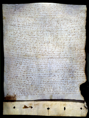 Treaty of Alcañices (1297) - Treaty of Alcañices (1297), currently kept in the Torre do Tombo National Archive.