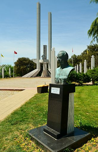 Treaty of Lausanne Monument and Museum - Treaty of Lausanne Monument with  a bust of Ismet Inönü, the chief negotiator for Turkey, in foreground.