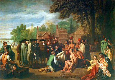 "Benjamin West's painting The Treaty of Penn with the Indians (1771-1772), depicts the 1683 peace treaty at Shackamaxon between William Penn and Tamanend, the chief of the Lenape's ""Turtle Clan."" Voltaire referred to it as ""the only treaty never sworn to and never broken."" Treaty of Penn with Indians by Benjamin West.jpg"