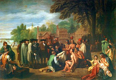 Benjamin West's painting (in 1771) of William Penn's 1682 treaty with the Lenape Treaty of Penn with Indians by Benjamin West.jpg