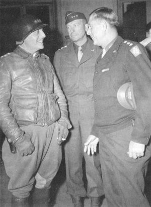 Alexander Patch - Lieutenant Generals Lucian Truscott and Alexander Patch talk with General Jacob L. Devers.