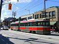 Ttc streetcar at queen street and lee avenue.jpg