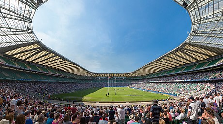 Twickenham, home of the England rugby union team, has an 82,000 capacity, the world's largest rugby union stadium. Twickenham Stadium - May 2012.jpg