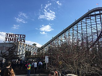 Twisted Timbers - Image: Twisted Timbers Sign and Lift Mar 2018