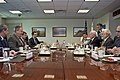 U.S. Deputy Defense Secretary Bob Work, second from left, meets with Dan Harel, second from right, director general of Israel's defense ministry, at the Pentagon 141020-D-DT527-107c.jpg