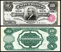 $10 Silver Certificate, Series 1891, Fr.298, depicting Thomas Hendricks