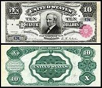 Certificado de Prata de $ 10, Série 1891, Fr.298, representando Thomas Hendricks