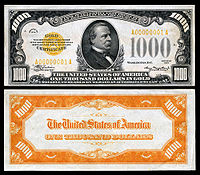 $1,000 Gold Certificate, Series 1934, Fr.2409, depicting Grover Cleveland