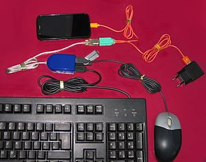 USB On-The-Go - A USB OTG setup involving a few devices