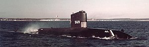 USS Albacore (AGSS-569) underway off Newport, Rhode Island (USA), 11 March 1957 (80-G-K-22262).jpg