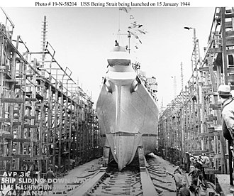 USS Bering Strait (AVP-34) - USS Bering Strait (AVP-34) is launched at Lake Washington Shipyard, Houghton, Washington, on 15 January 1944.