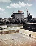 USS Saratoga (CV-3) moored at Ford Island circa in June 1945.jpg