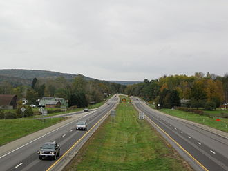 Interstate 99 - Looking southward along US 15 (now I-99) from the Smith Road overpass in Presho prior to the road's completion. The highway previously narrowed from four to two lanes in the background