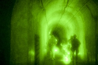 West Fort Hood - rightNight vision photograph of subterranean training in West Fort Hood, 2014