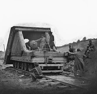 Confederate railroads in the American Civil War - A railway mounted gun and its crew, used during the Siege of Petersburg.