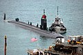 US Navy 030221-N-0780F-020 Los Angeles class submarine USS San Juan arrives for a port visit and prepares to be berthed next to submarine tender USS Emory S. Land.jpg