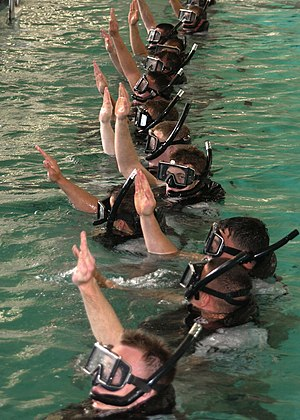 "Search and rescue - Search and Rescue students give the ""I am all right"" signal to let the SAR instructors know that they are ready for further instructions at the pool on board Naval Station San Diego."