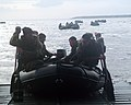 US Navy 060202-N-4124C-004 Marines assigned to the 31st Marine Expeditionary Unit (MEU) prepare to launch a Combat Rubber Raiding Craft (CRRC) from the amphibious transport dock USS Juneau (LPD 10).jpg